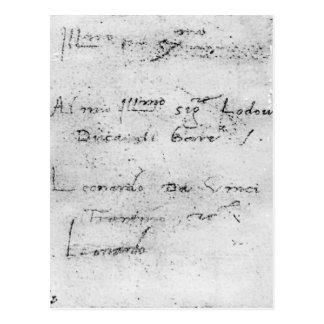 Leonardo da Vinci's handwriting Postcard