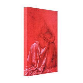 Leonardo DaVinci red drapery sketch wrapped canvas