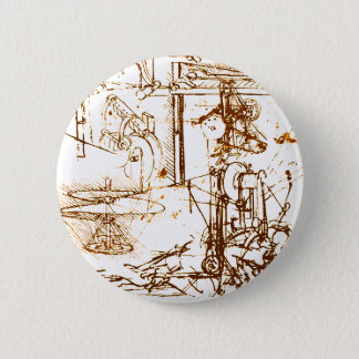 Leonardo DaVinci sketched image 6 Cm Round Badge