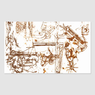 Leonardo DaVinci sketched sickers Rectangular Sticker