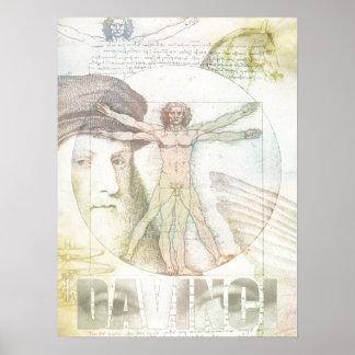 Leonardo DaVinci Vitruvian Man Collage Poster