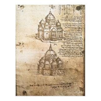 Leonardo Vinci- Studies of central plan buildings Postcard