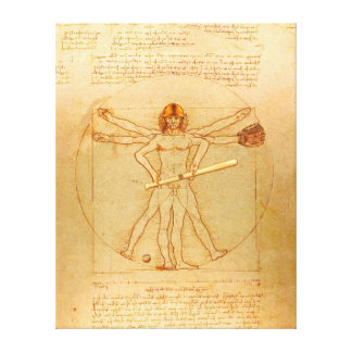 Leonardo Vitruvian Man As Baseball Player Canvas Print