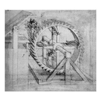 Leonardo Wooden Gears Drawing Poster