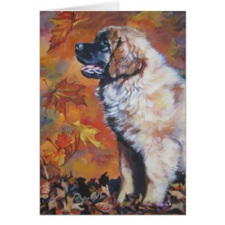 leonberger autumn blank greeting card