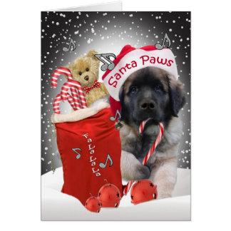Leonberger Santa Paws Christmas Card