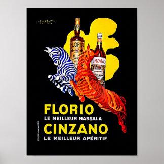 """Leonetto Cappiello Art DecoFrench Poster """"Cinzano"""""""