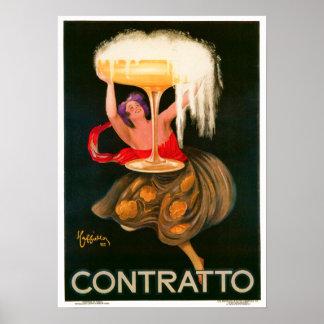 Leonetto Cappiello Contratto Liquor Advertisement Poster