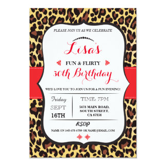 Leopard 30th 40th 50th 60th Birthday party Invite