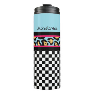 Leopard and Checkers Thermal Tumbler