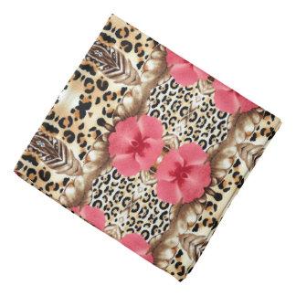 Leopard and Flowers Bandana
