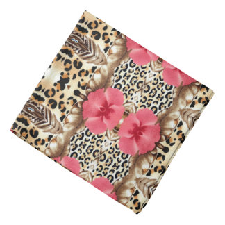 Leopard and Flowers Bandanas