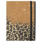 "Leopard and Gold Faux Glitter Brushstrokes iPad Pro 12.9"" Case"