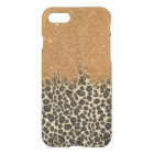 Leopard and Gold Faux Glitter Brushstrokes iPhone 8/7 Case