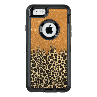 Leopard and Gold Faux Glitter Brushstrokes OtterBox Defender iPhone Case
