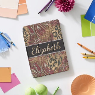 Leopard and Paisley Design Print to Personalise iPad Pro Cover