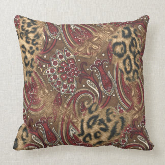 Leopard and Paisley Pattern Print Cushion
