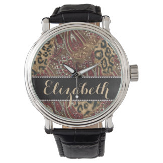 Leopard and Paisley Pattern Print to Personalise Wristwatch