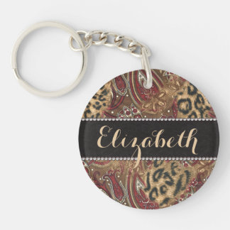 Leopard and Paisley Pattern Print to Personalize Key Ring