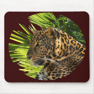 LEOPARD AND PALMS MOUSE PAD