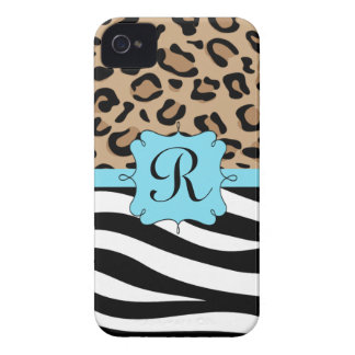 Leopard and Zebra Print Personalized Monogram iPhone 4 Case-Mate Case
