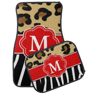 Leopard and Zebra Red Monogram Floor Mat