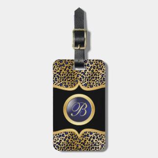 Leopard Animal Print | DIY Monogram | Gold & Blue Luggage Tag