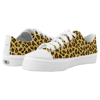 Leopard Animal Print Pattern Laced Sneakers