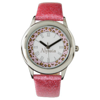 Leopard animal print pink name wrist watch