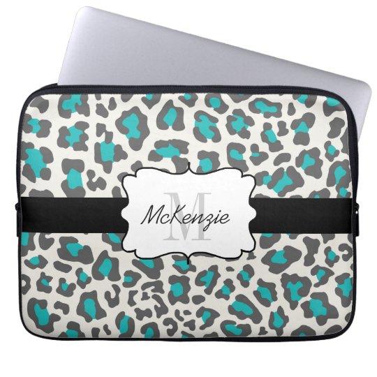 Leopard Aqua Grey White Neoprene Laptop Sleeve