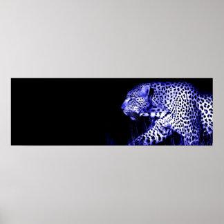 Leopard at Blue Night Door Poster Pop Art Animals
