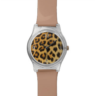 Leopard Big Cat Africa Wildlife Faux Fur Wristwatch