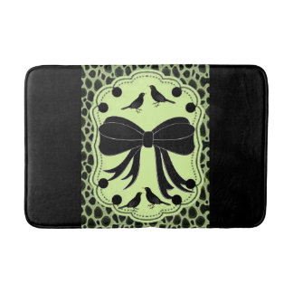 leopard bird green black bathmat