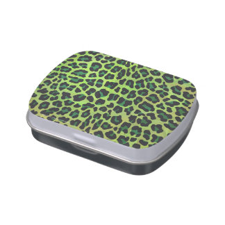 Leopard Black and Green Print Jelly Belly Candy Tins