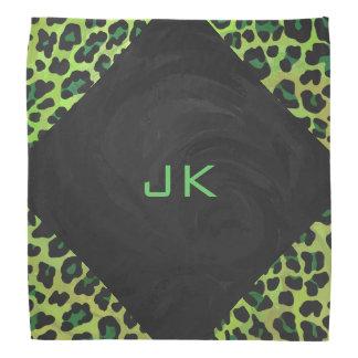 Leopard Black and Green with Monogram Head Kerchiefs