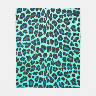 Leopard Black and Teal Print Fleece Blanket