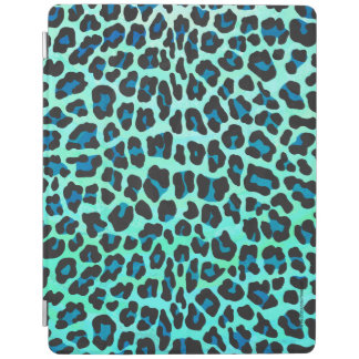 Leopard Black and Teal Print iPad Cover