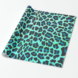Leopard Black and Teal Print Wrapping Paper