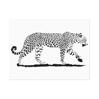Leopard black and white fine art drawing. canvas print
