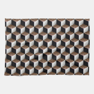 Leopard Black White Shaded 3D Look Cubes Hand Towel