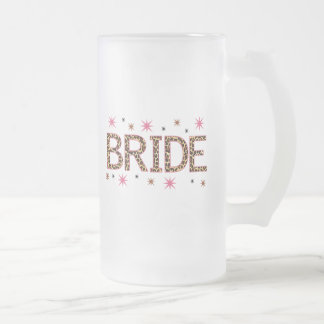 Leopard Bride Frosted Glass Beer Mug