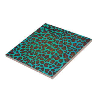 Leopard Brown and Teal Print Small Square Tile