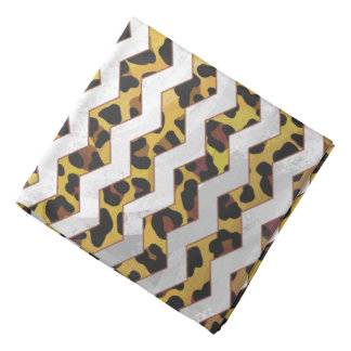 Leopard Brown and Yellow Cevron Print Bandana