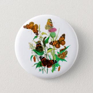 Leopard Butterflies & Caterpillars & Pink Thistle 6 Cm Round Badge