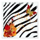 """Leopard Butterfly Invitation Card 5.25"""" Square Invitation Card"""