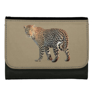 Leopard Cat Black Leather Wallet