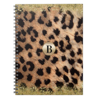 Leopard Cheetah Animal Print Gold Glitter Modern Spiral Notebook