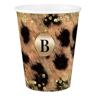 Leopard Cheetah Animal Print Gold Glitter Monogram Paper Cup
