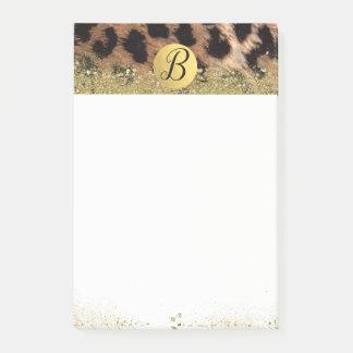 Leopard Cheetah Animal Print Gold Glitter Monogram Post-it Notes