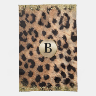 Leopard Cheetah Animal Print Gold Glitter Monogram Tea Towel